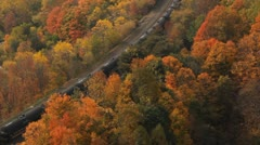 Autumn freight and passenger trains. Stock Footage