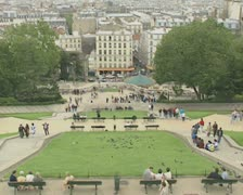 High view of Paris from park top Stock Footage