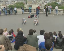 Two street performers doing performance Stock Footage