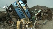 Japan Tsunami Aftermath - Destroyed Truck In Ofunato City Stock Footage