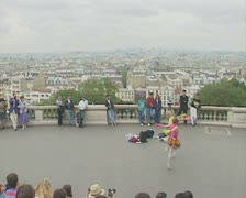Two street performers doing dance performance Stock Footage