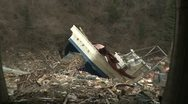 Japan Tsunami Aftermath - Boat Washed Up On Railway Tracks Stock Footage