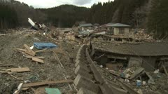 Japan Tsunami Aftermath - Destroyed And Ripped Up Railway Tracks Stock Footage