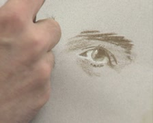 Close up of artist drawing portrait Stock Footage