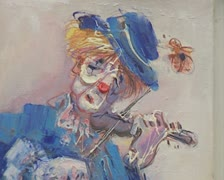 Painting of clown Stock Footage