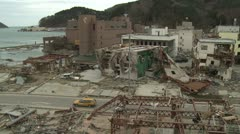 Japan Tsunami Aftermath - Onagawa City Lies In Ruins Stock Footage