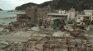 Japan Tsunami Aftermath - Onagawa City Lies In Ruins Stock Footage