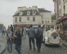 Street in Montmartre with people Stock Footage