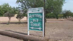 WorldClips-Historic Tubac Sign-zooms Stock Footage