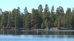 WorldClips-Pinetop Lake and Rowboat-xws Stock Footage