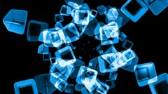 Ice block,crystal jewelry necklace,flying glass boxes and rays light,tech web c Stock Footage