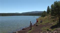 WorldClips-Pinetop Lakeside Fishing-zoom Stock Footage