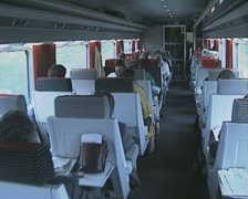 Interior of train carriage - stock footage