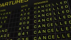 US Domestic Airport Timetable All Flights Cancelled 01 Stock Footage