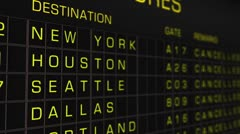 US Domestic Airport Timetable All Flights Cancelled 03 Stock Footage