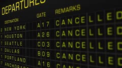US Domestic Airport Timetable All Flights Cancelled 04 Stock Footage