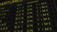US Domestic Airport Timetable All Flights On Time 01 Stock Footage