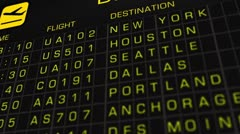US Domestic Airport Timetable All Flights On Time 02 Stock Footage