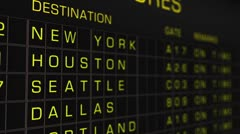 US Domestic Airport Timetable All Flights On Time 03 Stock Footage