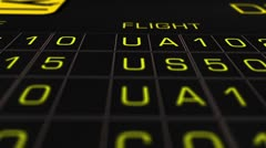 US Domestic Airport Timetable All Flights On Time 07 extreme closeup Stock Footage