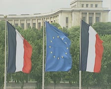 French and EU flags Stock Footage