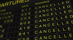 International Airport Timetable All Flights Cancelled 01 Stock Footage