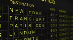 International Airport Timetable All Flights Cancelled 03 Stock Footage