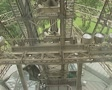 View from elevator moving up Eiffel Tower Footage