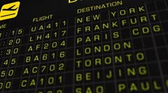 International Airport Timetable All Flights On Time 02 Stock Footage