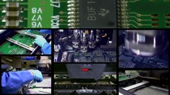 Generic high tech production line for PCB production - montage Stock Footage