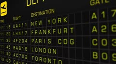 International Airport Timetable All Flights On Time 05 Stock Footage