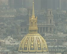 Zoom out from Hotel des Invalides to city view Stock Footage