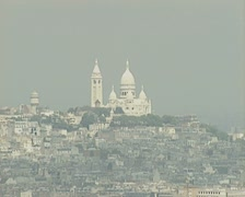Distant view of Basilica of the Sacred Heart Stock Footage