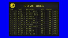International Airport Timetable All Flights Cancelled BlueScreen DEPARTURES - stock footage