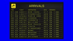 International Airport Timetable All Flights Get Cancelled BlueScreen ARRIVAL - stock footage