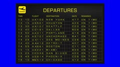 US Domestic Airport Timetable All Flights Gets Cancelled BlueScreen DEPARTURE - stock footage