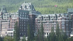 WorldClips-Banff Fairmont Hotel-zoom Stock Footage