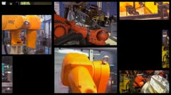 Industrial Robots - generic montage Stock Footage