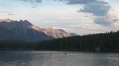 Stock Video Footage of WorldClips-Banff Lake Dusk-zoom