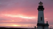 Stock Video Footage of Yaquina Head Lighthouse, Oregon, Sunset, Time Lapse