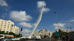 4K UHD The modern string bridge in Jerusalem, Israel, time lapse Stock Footage