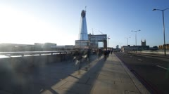 Time Lapse of Commuters Crossing London Bridge on Way to Work Stock Footage