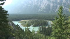 WorldClips-Bow River Island-ws-zoom Stock Footage
