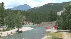 Stock Video Footage of WorldClips-Bow River Stream Rafts-xws