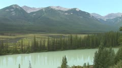 Stock Video Footage of WorldClips-Bow River and Mountains-xws