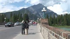 WorldClips-Bridge to Banff Pedestrians-ws Stock Footage