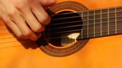 Hand Finger Picking Acoustic Guitar Close Up Stock Footage