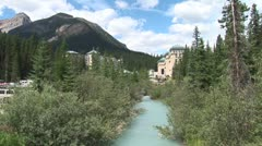 Stock Video Footage of WorldClips-Chateau Lake Louise from Stream-zoom