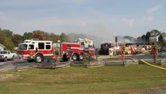 ladder firetruck buildingfire - stock footage