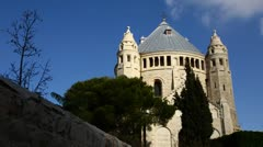 Basilica Church of the Dormition, Jerusalem time lapse Stock Footage